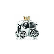 Princess Pumpkin Carriage European bead. sterling silver iwth gold accents.