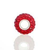 Side view of Red Swarovski Crystal European bead.