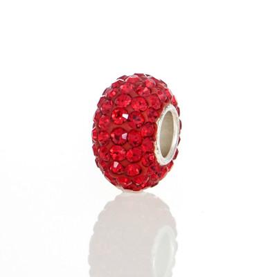 Red Swarovski Crystal European bead.