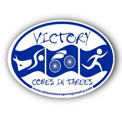 "Oval car decal says ""Victory comes in Threes"" shown in blue."