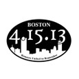 This Black and White Boston Strong bumper sticker has the date 4-15-13 and boston skyline