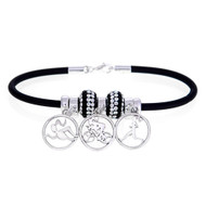 European Black rubber bracelet with swim, bike and run dangle beads.