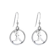 Sterling silver runner girl cut out earrings come on sterling silver french hooks.