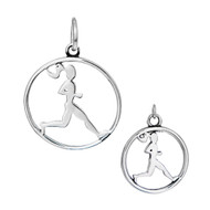 Sterling silver runner circle pendant and charm in same frame