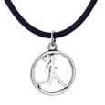 Sterling silver run circle charm on a cord