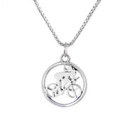 Sterling silver round cutout cycling girl charm necklace.