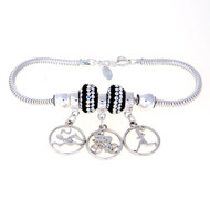 Triathletes will be delighted with this sterling silver Zable bracelet featuring our Milestones gals swimming, biker and running. These cut circle charm dangle beads are separated by two dazzling Black and clear Swarovski crystal beads and tow sterling silver stopper beads. .