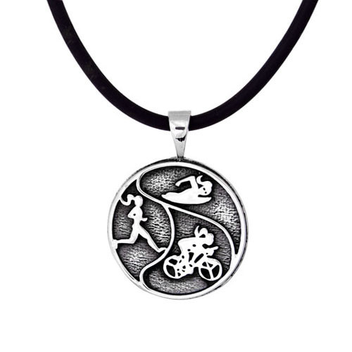 "Triathlon  Tri-Girls Pendant is made of .925 sterling silver adn comes on a black rubber cord. cord is 1.5mm thick and you can choose a 16"" or 18"" length."