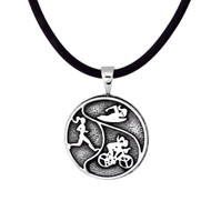 Sterling silver Triathlon  Tri-Girls Pendant