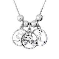 This Triathlon sterling silver necklace features our Milestones Melody Swimmer, Biker and Runner in cutout circle charms with sterling silver spacer beads to separate them form each other. It comes on a sterling silver box chain.