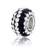 Black and White Swarovski Crystal Bead at an angle.