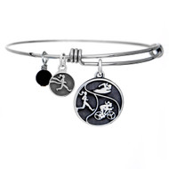 Adjustable Bangle bracelet featuring a Round Tri Girls pendant, runner girl charm and gemstone.