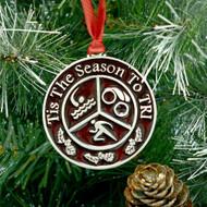 Round Red Triathlon Christmas ornament featuring a Swim, bike and run symbol.