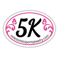 5K Bumper Sticker with pink scroll design