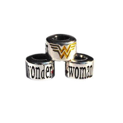 Wonder Woman European Bead with yellow and red enamel