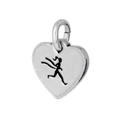 Runner girl mini tag in pewter
