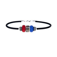 Neoprene Rubber, European Bracelet with Wonder Woman Bead Design