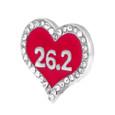 26.2 Heart Shoelace Charm, Pink Enamel With Rhinestone Edge
