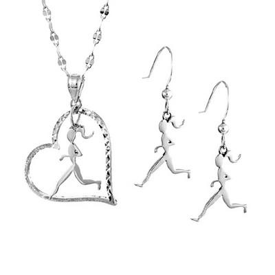 Runner heart and earring set.