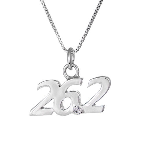 26.2 script pendant necklace. 26.2 has clear crystal at the point.