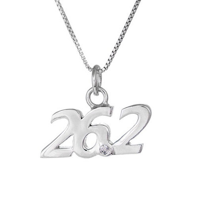 26.2 script pendant necklace. 26.2 has a cubic zircoia at the point between the 6 and the 2.