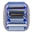 Sapphire Swarovski crystal baguette.