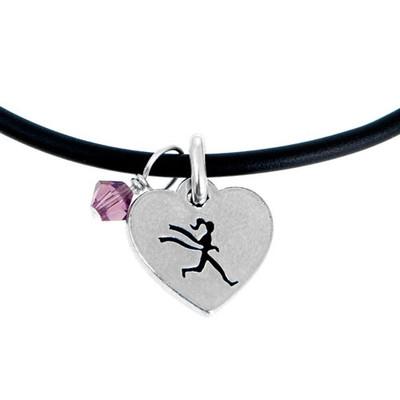 heart shaped runner girl charm on black cord.