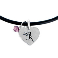 heart shaped runner girl charm on black cord.