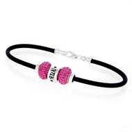 RUN European bracelet with 2 pink Swarovski crystal beads on a rubber bracelet.