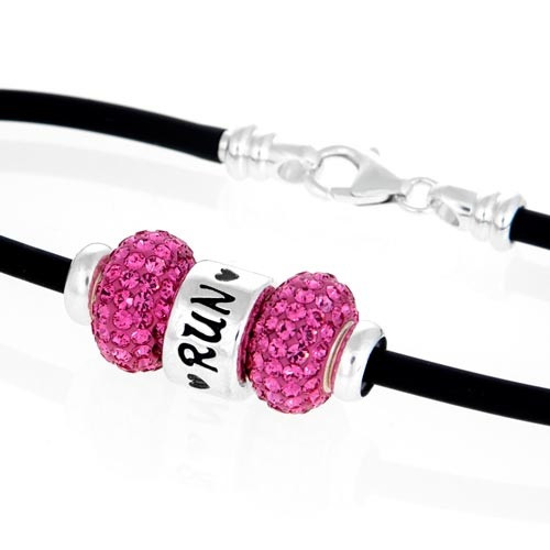 close up of Run heart European bracelet.