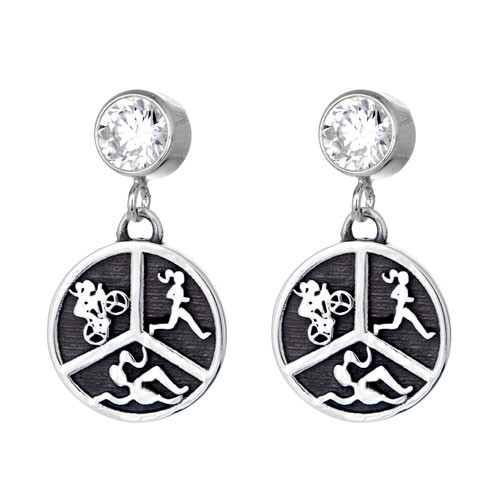 Triathlon Earrings on CZ posts.