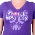 Close up of Purple V-Neck tee with Sole Sisters design.