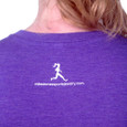 Back of Sole Sisters purple tee with Milestones runner on nap of neck.