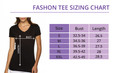 Sizing Chart for the Sole Sister's V-Neck Tee.