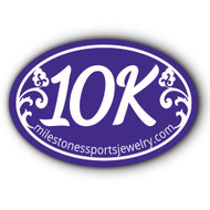 10K bumper sticker. oval blue 10K sticker.