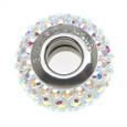 Sterling silver core of clear Swarovski crystal European bead.