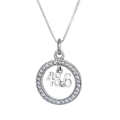 48.6 CZ pendant necklace on box chain.