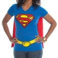 Front view of super girl tee on model.