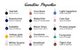 List of all gemstones and properties available to add to your bangle bracelet.
