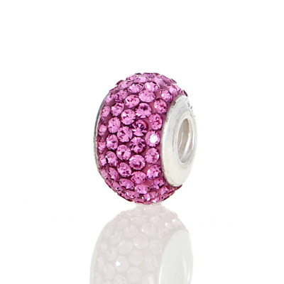 Front view of Rose Pink Swarovski Crystal Bead.