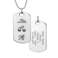 Triathlon swim, bike and run dog tag with engraved back.