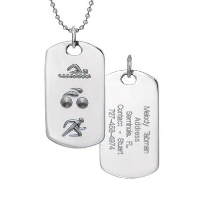 Triathlon swim, bike and run dog tag with engraved back.