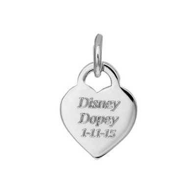Front of small personalized engraved heart charm