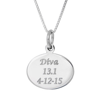 Front view of oval custom engraved charm on a box chain