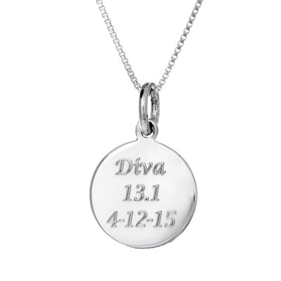 Round custom sterling silver engraved finisher charm on a box chain.