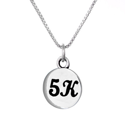 Sterling silver 5K round charm on a box chain