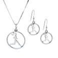 Runner circle necklace and earring combo in sterling silver