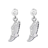 Winged shoe charm on clear crystal post earrings
