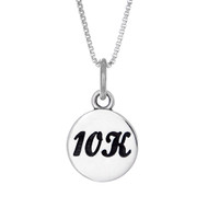 10K round charm in sterling silver, hanging on a box chain