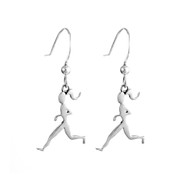 Sterling silver runner girl charms on hook ear wires.